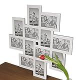 elbmöbel Bilderrahmen Collage Fotorahmen groß in weiß aus Holz ideal für Family Fotowand (62 x 62cm)