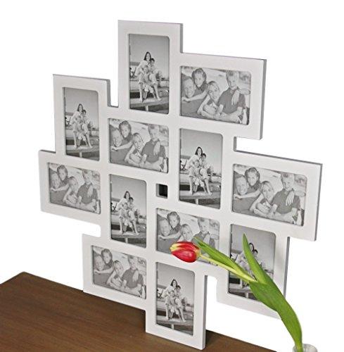 elbmöbel Bilderrahmen Collage Fotorahmen groß in weiß aus Holz ideal für Family Fotowand (62 x...