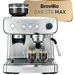 Cafetière/Machine à Expresso Breville Barista Max, Semi-Automatique avec Moulin Broyeur à Grain Intégré, Buse à Vapeur pour Faire Mousser Le Lait & Pompe italienne de 15 Bars [VCF126X]
