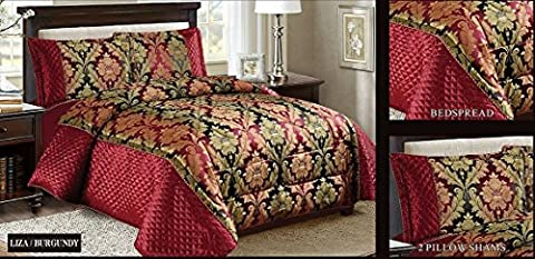 New Modern Design Luxury 3 Piece Heavy Jacquard Quilted Floral Pattern Bedspread Comforter Bed Set, Pillow Shams Double King Super King Size (KING, LIZA BURGUNDY)