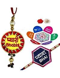 Indibni Embroidery Pyara Bhai Pyaari Bhabhi Rakhi Pair Set of 2 with Roli, Chawal Greeting Card Message Rakhi Set of 2