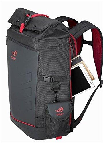 Asus Rog Ranger Backpack Gaming Rucksack (für Notebooks bis zu 17 Zoll, Extratasche für Zubehör, wasserfest, gepolstert) schwarz