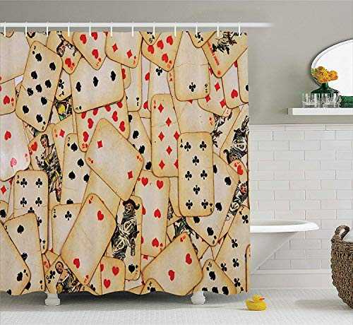 XIAOYI Casino Decorations Shower Curtain Set, Old Playing Cards Vintage Classic Style Entertaining Wealth Fortune Theme, Bathroom Accessories, 60x72 Inches
