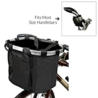 MyGift Multi Purpose Black Bicycle Basket Carrier/Car Organizer with Drawstring Closure & Top Handles