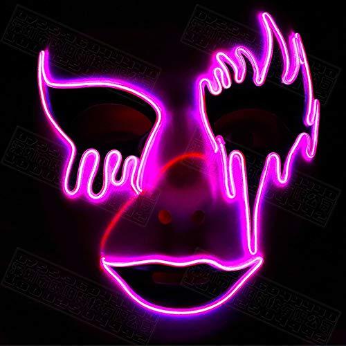 LED Halloween Leuchtende Maske,Horror Party Maske,Make-up Ghost Dance Schwammkopfkissen Mit 3 Blitzmodi Einfach Zu Tragen Kostüm Cosplay Performances Bar (Einfache Halloween Makeup Kostüm)