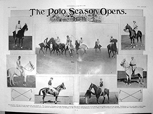 Stampa Antica di Signore Harrington A Rawlinson Signore Shrewsbury 1906 di Stagione di Polo