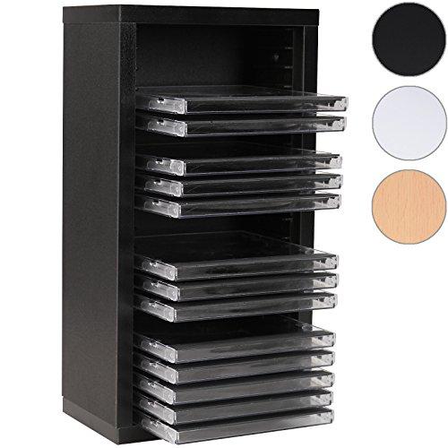Jago CD-Regal mit Platz für 20 CDs zur Ordnung in der Farbe Schwarz aus robustem MDF