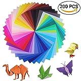 sunerly 200hojas 50colores vivos sola cara papel para Origami para proyectos de arte y manualidades + 100pcs con Googly Ojos móviles (100hojas, 15x 15cm + 100hojas 10x 10cm)