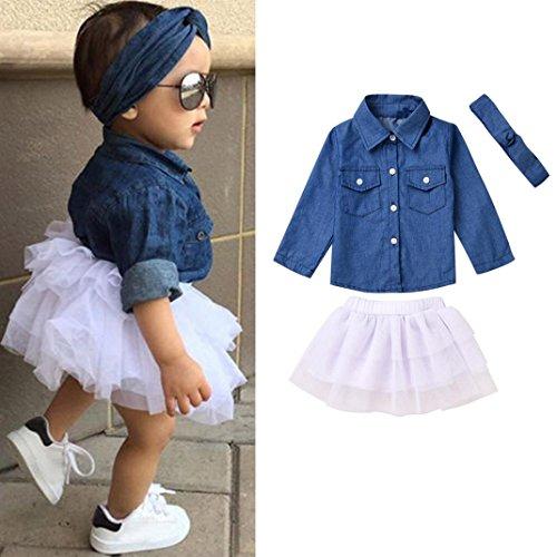 Lila Tutu Und Blau Kind (Janly Kleinkind Kinder Baby Mädchen Denim Tops T-Shirt + Tutu Röcke 3Pcs Outfits Set Kleider)