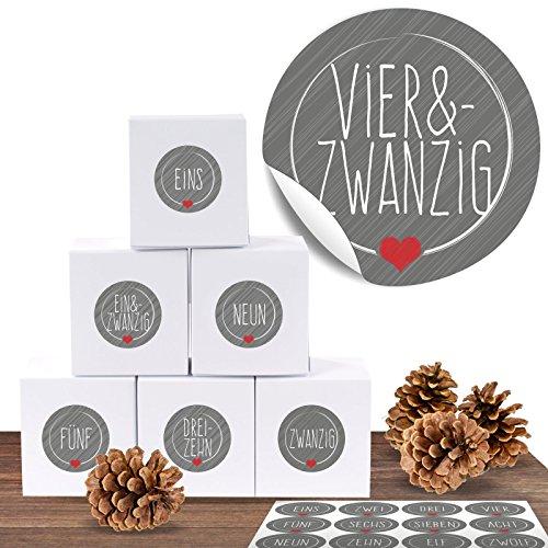 24 Adventskalender Pappschachteln mit 24 weihnachtlichen Zahlenaufklebern