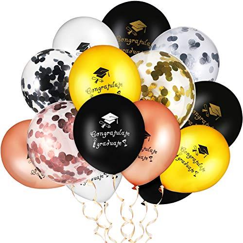 45 Pezzi Palloncini in Lattice di Laurea Palloncini di Coriandoli Oro Argento Nero Rosa Decorazione a Palloncino in Oro per Festa di Laurea