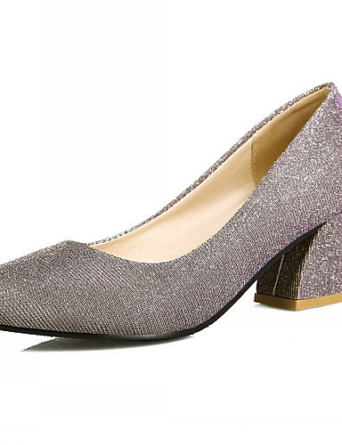 WSS 2016 Chaussures Femme-Bureau & Travail / Habillé / Décontracté-Noir / Argent / Or-Gros Talon-Talons-Talons-Similicuir silver-us7.5 / eu38 / uk5.5 / cn38