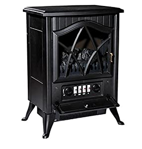 Traditional Black Electric Fireplace - Freestanding Style - Beautiful Black Iron Cast Finish - Automatic Safety Thermal Cut-Off Device