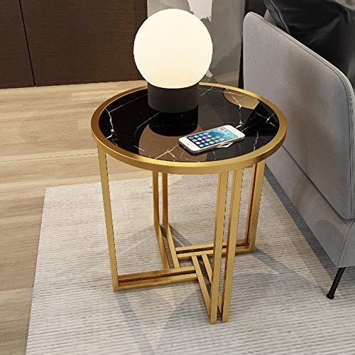 Ecke Akzent Möbel (Klapptisch YANFEI, Ecke, Gold Metallrahmen Marmor und Massivholz Arbeitsplatten, 54 * 54 * 53cm (Farbe : Black Marble))