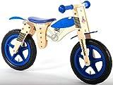 12 Zoll Motorrad Kinder Holz Laufrad blau für 3 bis 6 Jahre