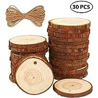 Rodajas de Madera Círculos 30pcs 6-7cm Fuyit Discos de Madera Rebanada + 10m Cuerda de Cáñamo Maderas Naturales Perforado Con Corteza de Árbol Para Manualidades DIY