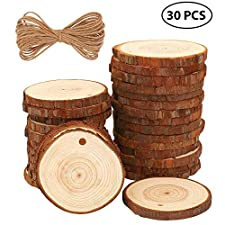 Technische Daten: Kategorie: FUYIT 30Stk Wood Slice mit Natural Baumwoll Twine Farbe: Holzfarbe Material: Holz Anzahl Scheiben: 30 Stück Durchmesser: ca. 6-7cm/2,4-2,8inch Dicke: ca. 0,6cm/0,24inch Natural Baumwoll Twine Länge: 10 m/33 Feet Packliste...