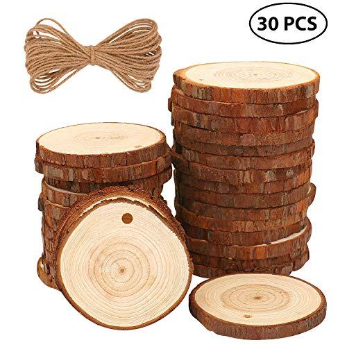 Fuyit Holzscheiben 30 Stücke Holz Log Scheiben 6-7cm mit Loch Unvollendete Holzkreise für DIY Handwerk Holz-Scheiben Hochzeit Mittelstücke Weihnachten Dekoration Baumscheibe
