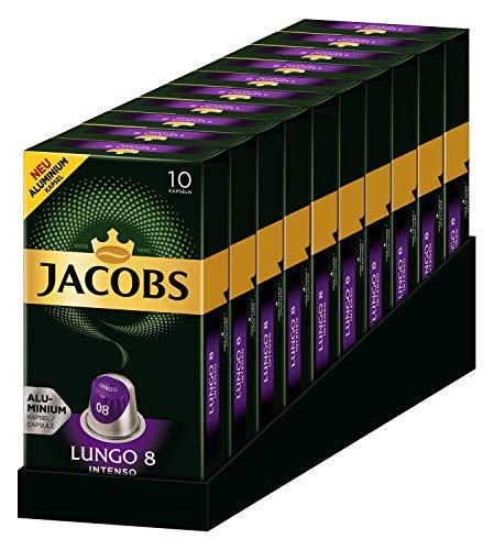 Jacobs Lungo Intenso - Nespresso® * Kompatible Aluminium Kaffeekapseln - 10 Packungen mit jeweils 10 Kapseln (100 Getränke)