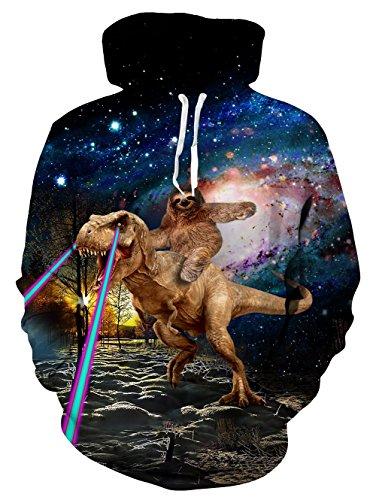 TUONROAD Unisex Hoodie 3D SchäDel Dinosaurier Sweatshirt Kapuzenpullover Pullover ÜBergrößE Tops Hoodie Langarm und Fleece Plüschfutter Casual Kapuzenjacke Mit Taschen Schädel-sweatshirt