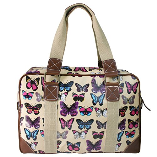 Miss Lulu Damen Wachstuch Handtasche Schultertasche Tasche Handbag Shoulder Bag Gepunktet Eule Blumen Schmetterling Hund Katzen Schmetterling Beige