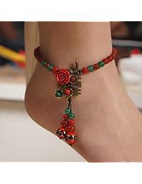 La moda retro original de tejidos a mano el pie de la cadena nacional de la personalidad de la novia un pie de adorno de flores de adorno femenino