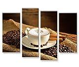 islandburner Bild Bilder auf Leinwand Cappuccino Kaffee Kaffebohnen Gemütlich 4er XXL Poster Leinwandbild Wandbild Dekoartikel Wohnzimmer Marke