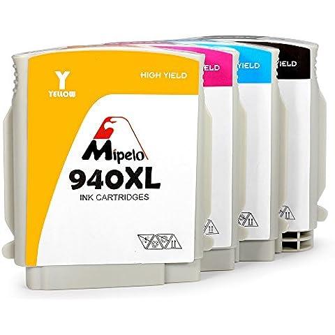 Mipelo Compatible HP 940XL Cartuchos de tinta (1 Negro, 1 Cian, 1 Magenta, 1 Amarillo), Utilizado en HP Officejet Pro 8500A 8000 8500 A909A A910A de la Impresora