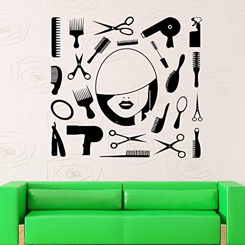 zhuziji Friseur Werkzeuge Schere Kamm Haar Kreis Spiegel Pflege Friseur Schönheit Haarschnitt Salon Fenster Aufkleber Wandkunst Vinyl Stic schwarz 42X42 cm - Honig Francisco San