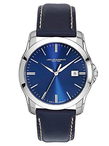 Abeler & Söhne Reloj de hombre fabricado en Alemania con cristal de zafiro, correa de piel y fecha as2007