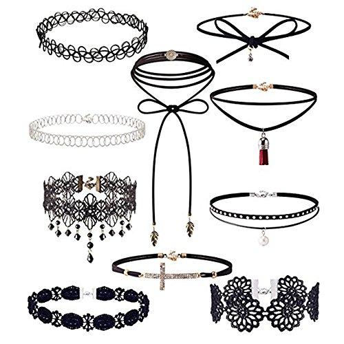 JUSTSELL  Halskette Set Damen,Frauen Velvet Klassische Gothic Tattoo Spitze Choker 10 Stück...