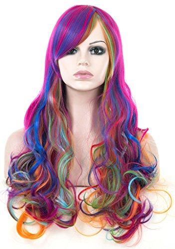 Gelockt Multi Farbe Rave Neon Rainbow Halloween-Kostüm Cosplay bunt synthetische Perücken (Neon Perücken)