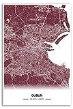 Zulumaps Poster Dublin Stadtplan - Hochwertiger Kunstdruck 50x75cm, Farbe: Rot