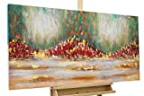 KunstLoft® Acryl Gemälde 'Girdle of Flowers' 120x60cm | original handgemalte Leinwand Bilder XXL | Abstrakt Blumen Bunt Grün Rot | Wandbild Acrylbild moderne Kunst einteilig mit Rahmen