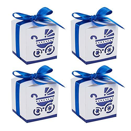 ndy Geschenkboxen Hohl Kinderwagen BB Auto Wagen Pralinenschachtel mit Band für Baby Shower Taufe Dekorationen Hochzeit Geburtstag Party-Event, Blau ()