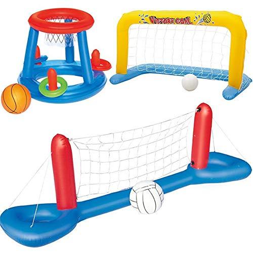 WXH Aufblasbare Pool Volleyball Spiel, Schwimm Pool Basketball Handball, Hohe Qualität Nylon Mesh Plus Dickes PVC Sommer Wassersport Spielzeug (Mit DREI Bällen) -