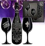 Das Sekt Geschenkset BLING!  Diamond Le Club mit 1.000 Kristallen  2 Champagnergläser aus schwarzem Kristallglas   Luxus für Freund-in   limitierte Edition Geschenk  mo-dern Valentinstag Mutter tarn-et