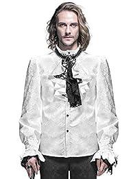 Devil Fashion Gótico Para Hombre Camisa Top Blanco Steampunk Regency Aristocrat + Corbata