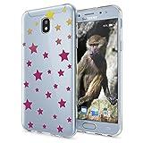 Samsung Galaxy J3 2017 (EU-Modell) Hülle Handyhülle von NALIA Slim Silikon Motiv Case Crystal Schutzhülle Dünn Durchsichtig Etui Handy-Tasche Back-Cover Transparent Bumper, Designs:Stars