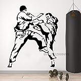 Modeganqingg Vinyle Karaté Arts Martiaux Autocollant Mural Sport Art Combat de Combattant Decal Home Decor Chambre Murale Amovible Noir L 110 cm x 134 cm