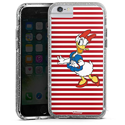 Apple iPhone 6 Bumper Hülle Bumper Case Glitzer Hülle Disney Daisy Duck Fanartikel Merchandise Bumper Case Glitzer silber