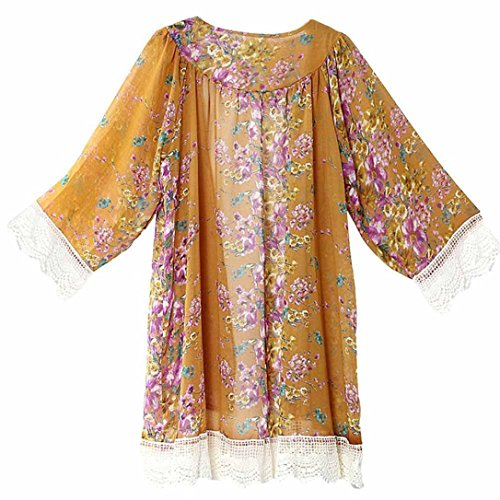Clode® Femmes Chiffon Loose Shawl Kimono Cardigan Top Cover Up Shirt Blouse Jaune