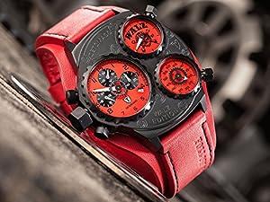 Detomaso WALZ Edition GRANDPRIX Red Trend DT-W1001-D - Reloj para hombres, correa de cuero color rojo de Detomaso