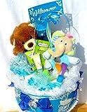Windeltorte - mit Pflegeprodukten, Tee, Kuschelteddy, Greifring und Trinkflasche, Tolles Geschenk zur Geburt