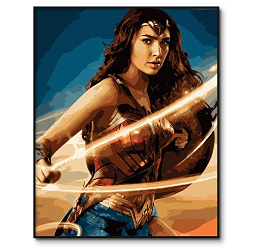 zjkruoxin Malen Nach Zahlen Erwachsene DIY Ölgemälde Nach Zahlen Kits Auf Leinwand Wonder Woman Digitale Malerei Wohnkultur 40X50 cm A