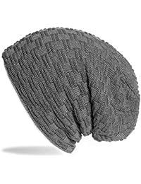 Kandharis Feinstrick Beanie Mütze mit Flecht Muster warmen und weichem Fleece Innenfutter für Damen Herren MT-21