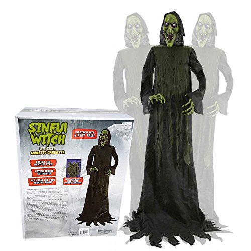 Animatronic sündige Hexe lebensgroßer Horror Dämon Halloween Puppe Blocksberg (Animatronics Halloween)
