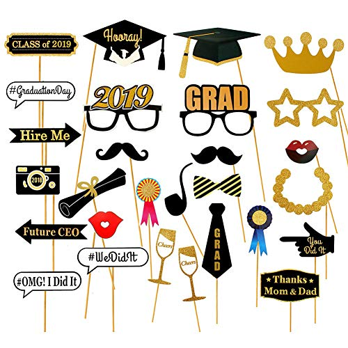 Dsaren Photo Booth Props, 28 Stück Abschluss Requisiten DIY Mustache Lippen Brille Krawatte Selfie Requisiten Dekoration (28 Stück)