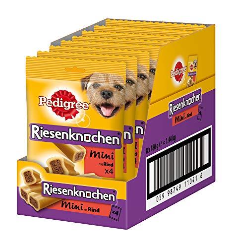 Pedigree Riesenknochen Mini mit Rind Hundesnacks, 8er Pack (8 x 180 g) - Knochen Für Hund Mittelgroße Hunde