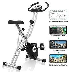 max 120kg verstellbarem Sitz und Lenker f/ür das Cardio-Training zu Hause LCD-Monitor ANCHEER Fahrradtrainer Leise Fitness-Bike Station/äres Heimtrainer mit APP-Steuerung Herzfrequenz